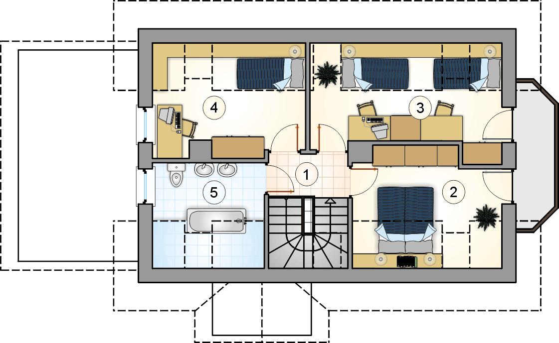 Rzut poddasza - projekt Oliwia - wersja lustrzana