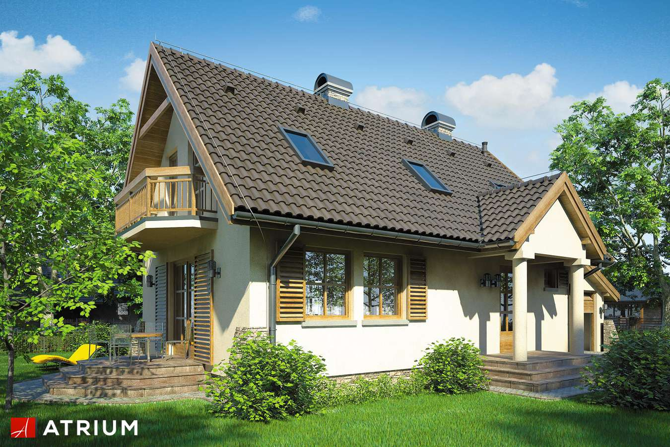 Projekty domów - Projekt domu z poddaszem OLIWIA - wizualizacja 1
