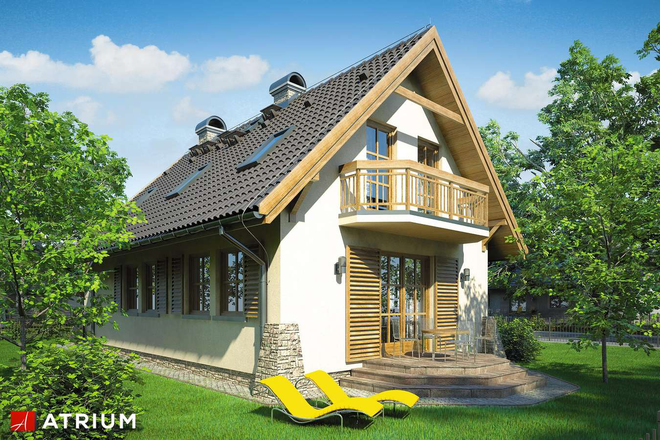 Projekty domów - Projekt domu z poddaszem OLIWIA - wizualizacja 2