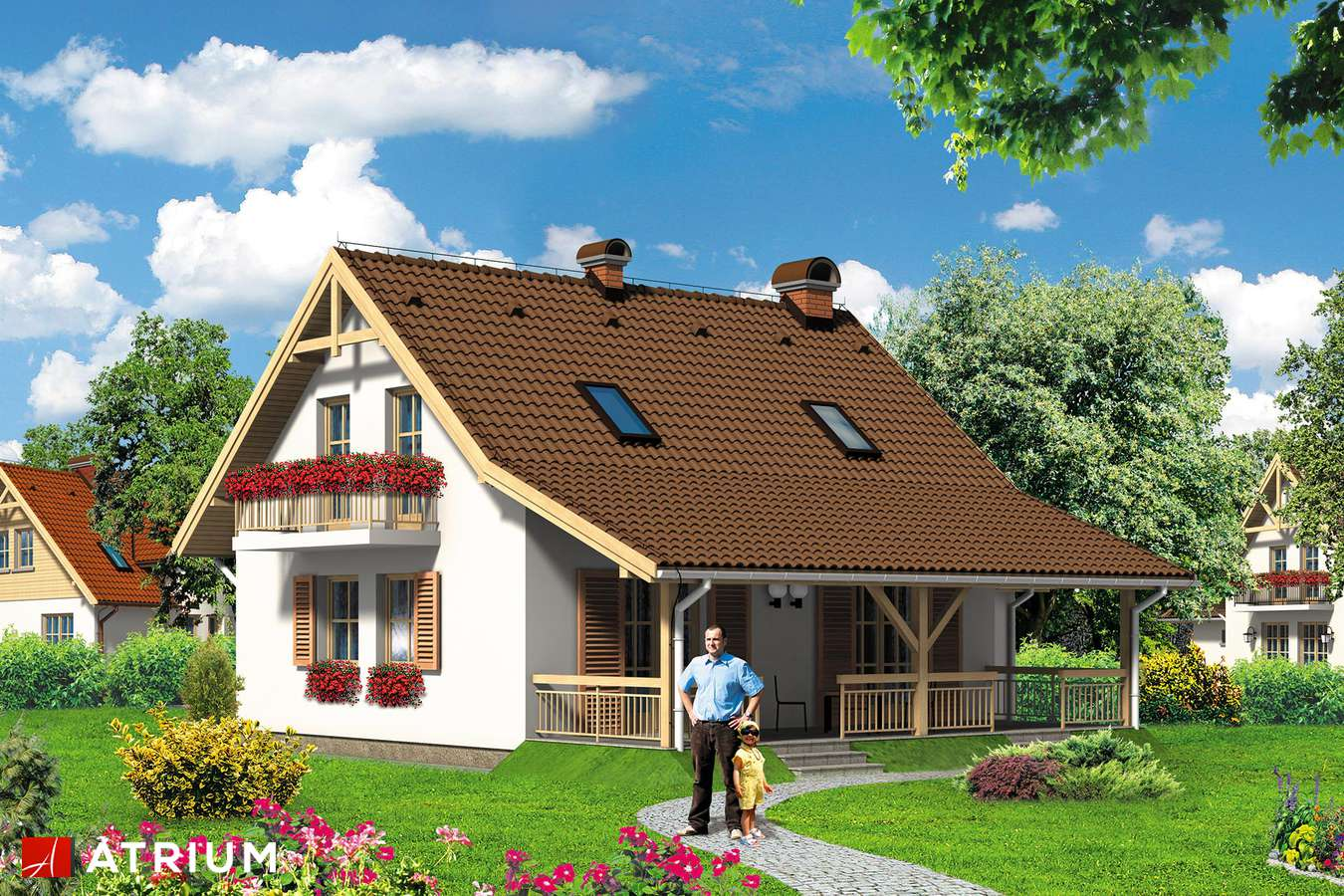 Projekty domów - Projekt domu z poddaszem RELAX - wizualizacja 1