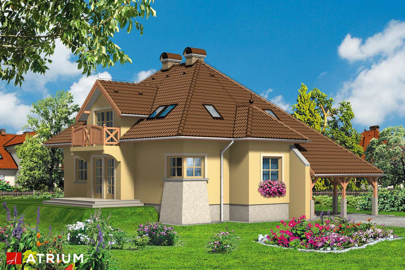 Projekty domów - Projekt domu z poddaszem BALLADA - wizualizacja 1 - wersja lustrzana