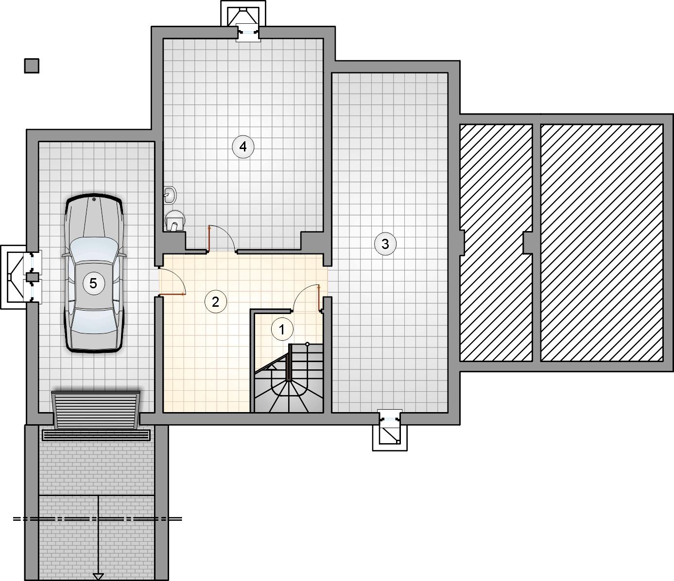 Rzut piwnicy - projekt Kmicic II
