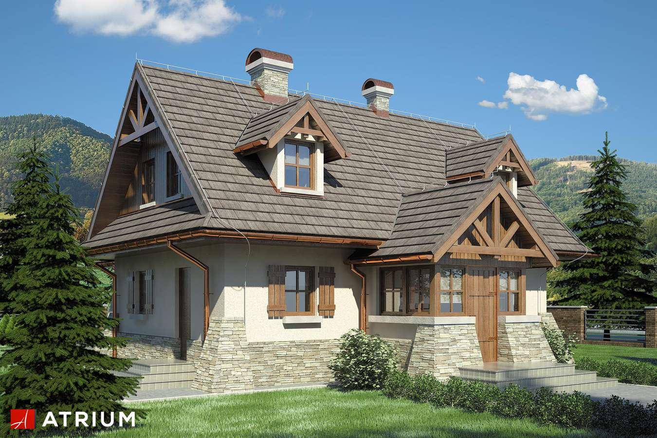 Projekty domów - Projekt domu z poddaszem ONDRASZEK - wizualizacja 1 - wersja lustrzana