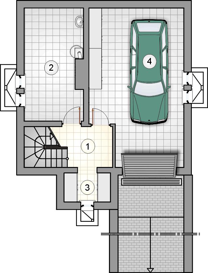 Rzut piwnicy - projekt Mikołajek