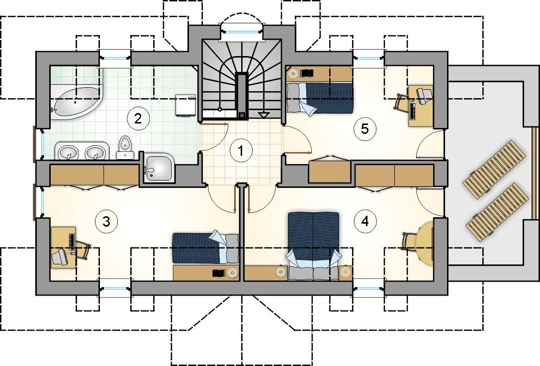 Rzut poddasza - projekt Harnaś - wersja lustrzana