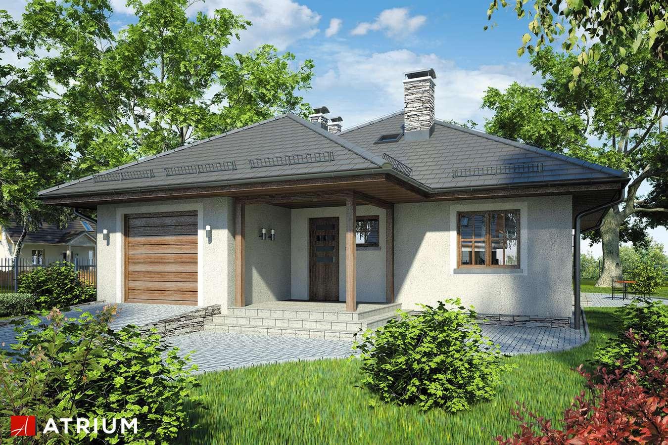 Projekty domów - Projekt domu parterowego BURSZTYN - wizualizacja 1 - wersja lustrzana