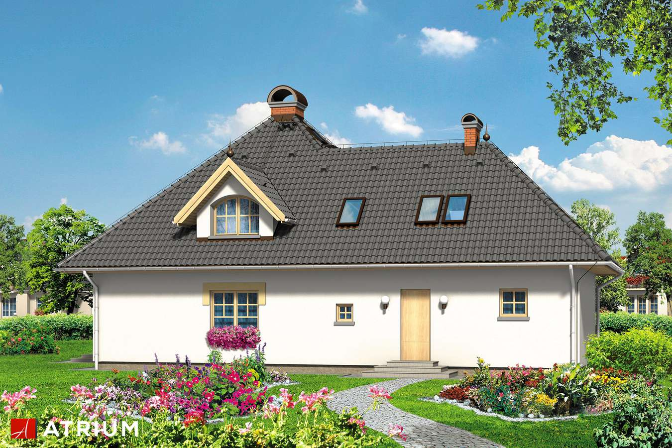 Projekty domów - Projekt domu z poddaszem WILLA AMANDA - wizualizacja 2