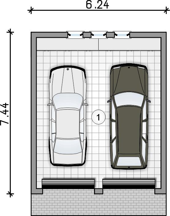 rzut garażu - Garaż Z 6