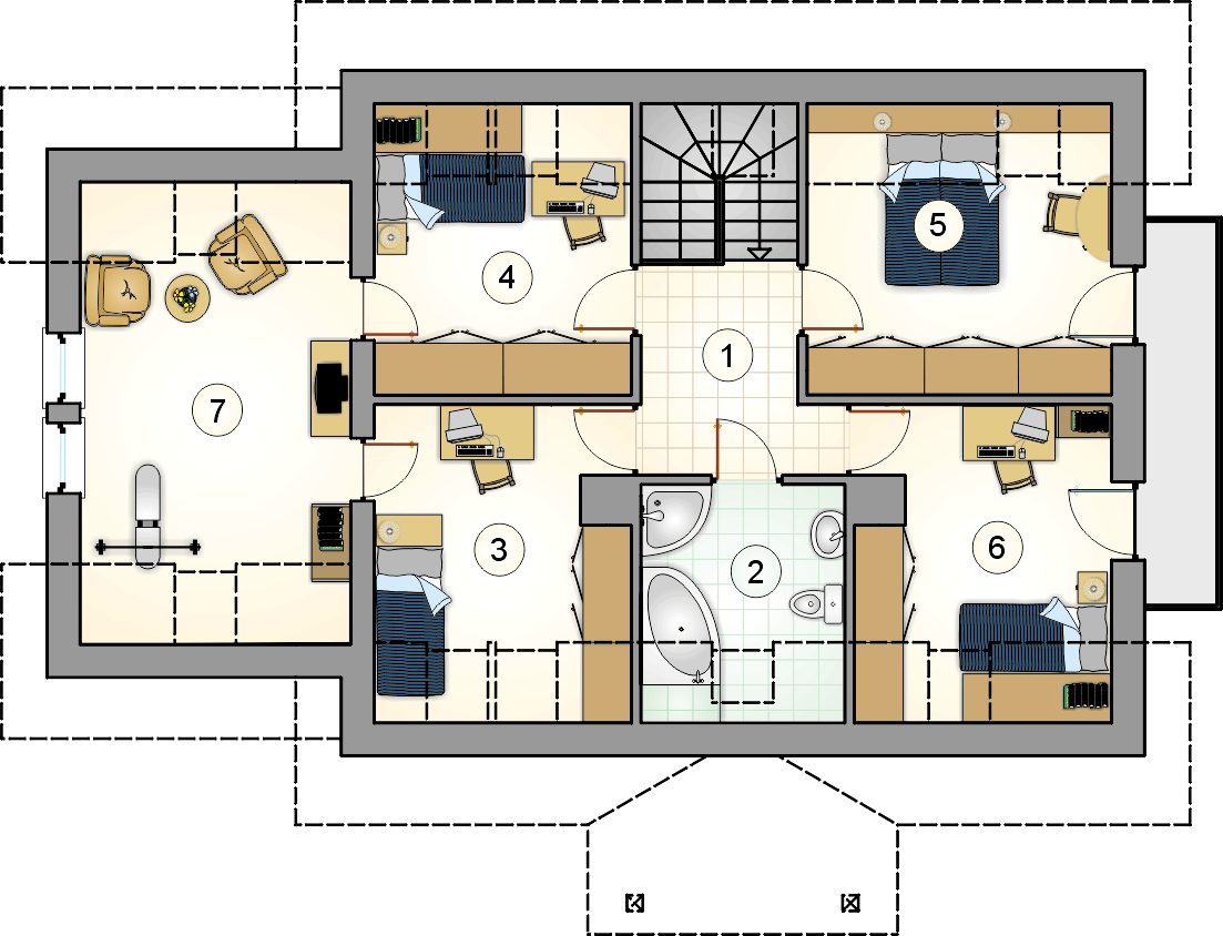 Rzut poddasza - projekt Zośka