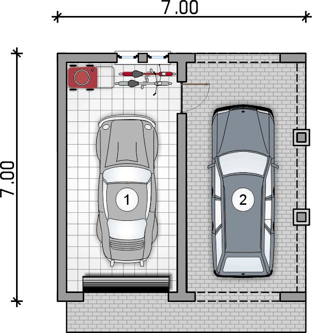 rzut garażu - Garaż Z 7