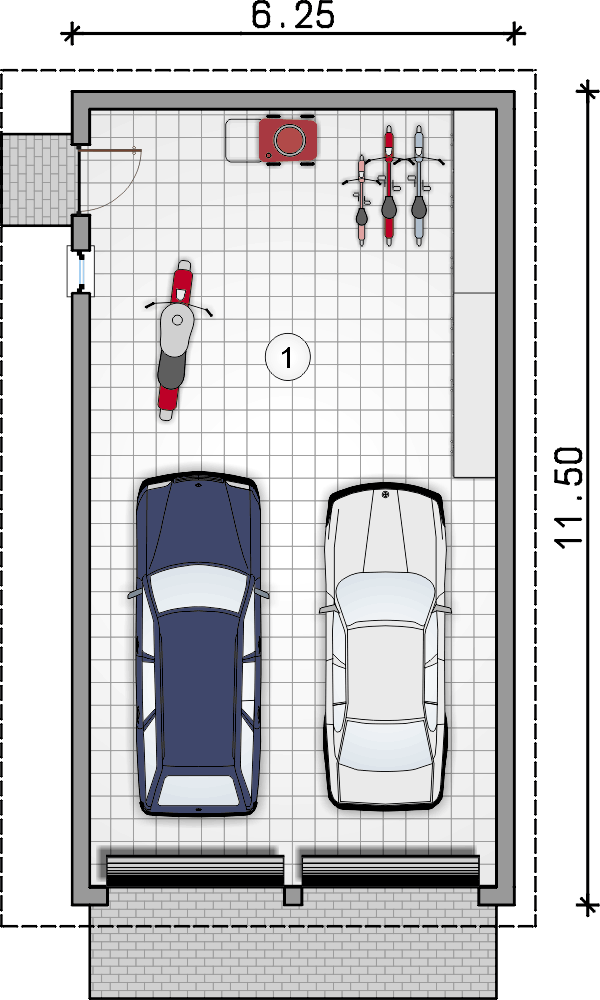 rzut garażu - Garaż Z 15