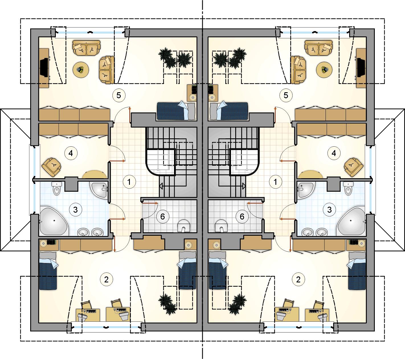 Rzut poddasza - projekt Quattro