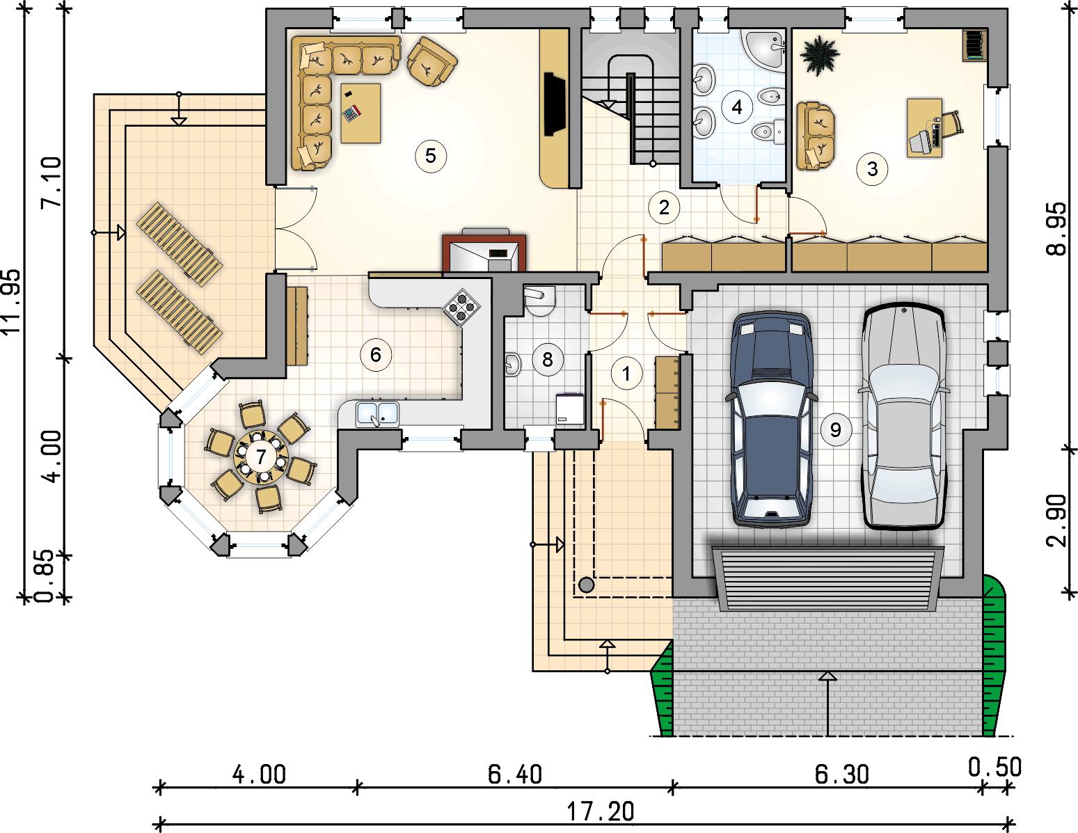 Rzut parteru - projekt Apollo - wersja lustrzana