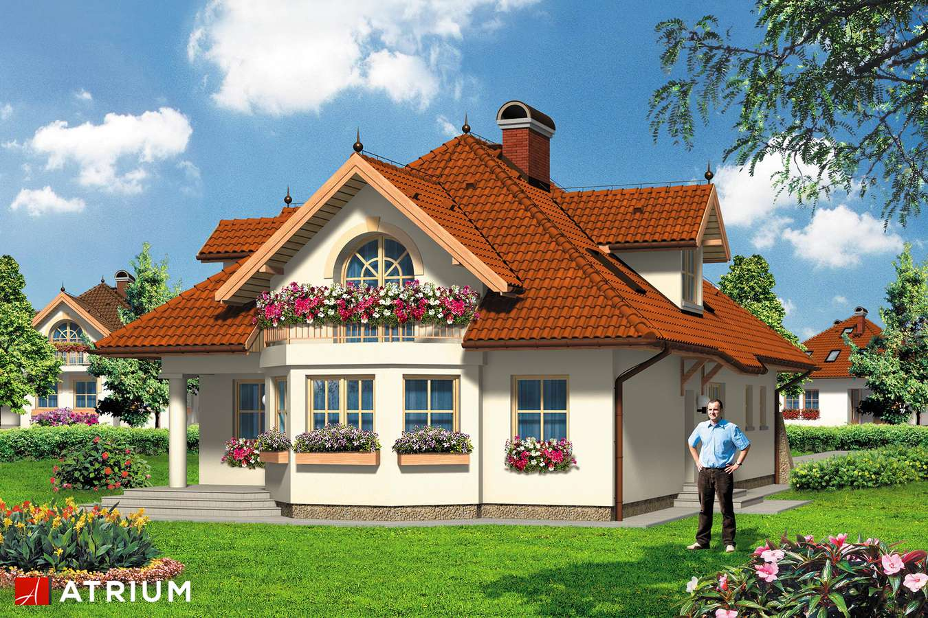 Projekty domów - Projekt domu z poddaszem FLAMING - wizualizacja 2