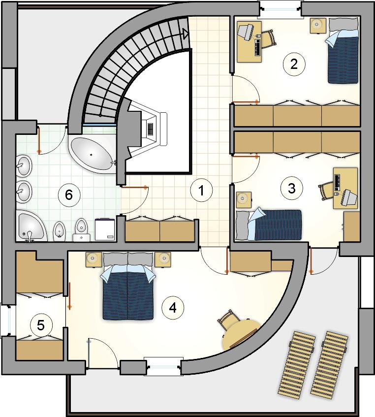 Rzut piętra - projekt Willa Marion