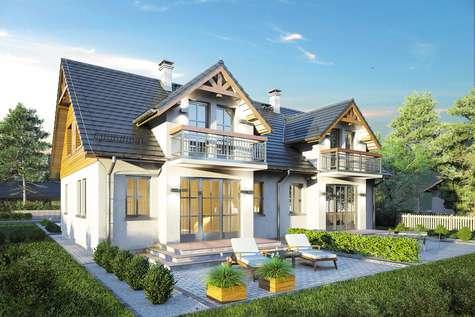 Projekt domu z poddaszem DOBOROWY DUET - wizualizacja 1