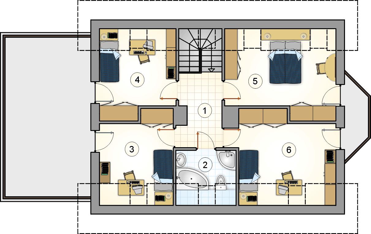 Rzut poddasza - projekt Łakotek