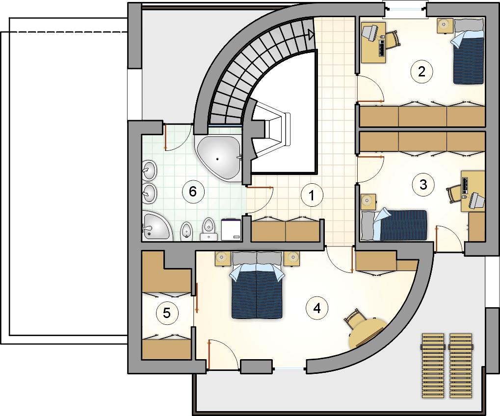 Rzut piętra - projekt Willa Moderna