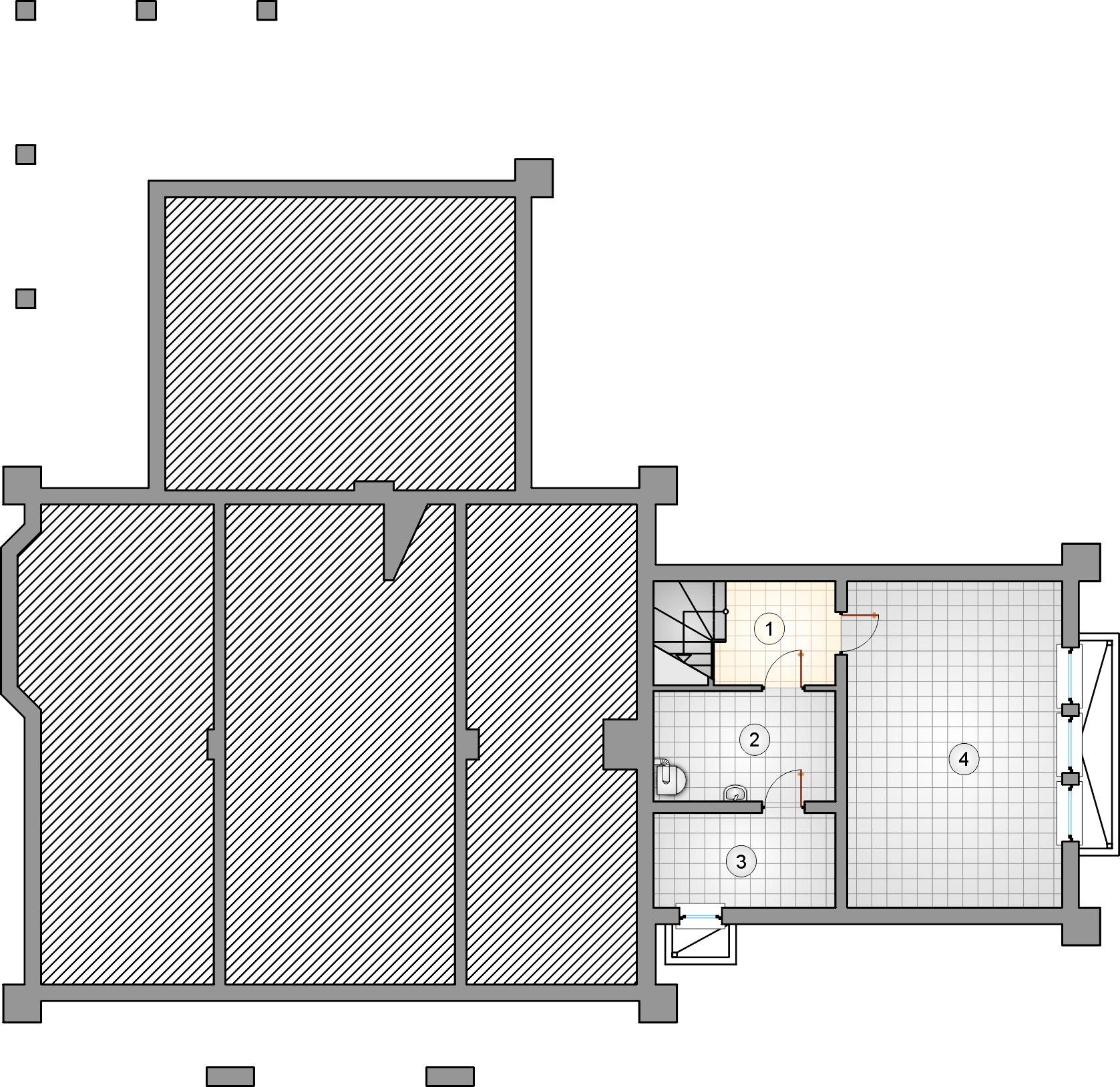 Rzut piwnicy - projekt Karmazyn - wersja lustrzana