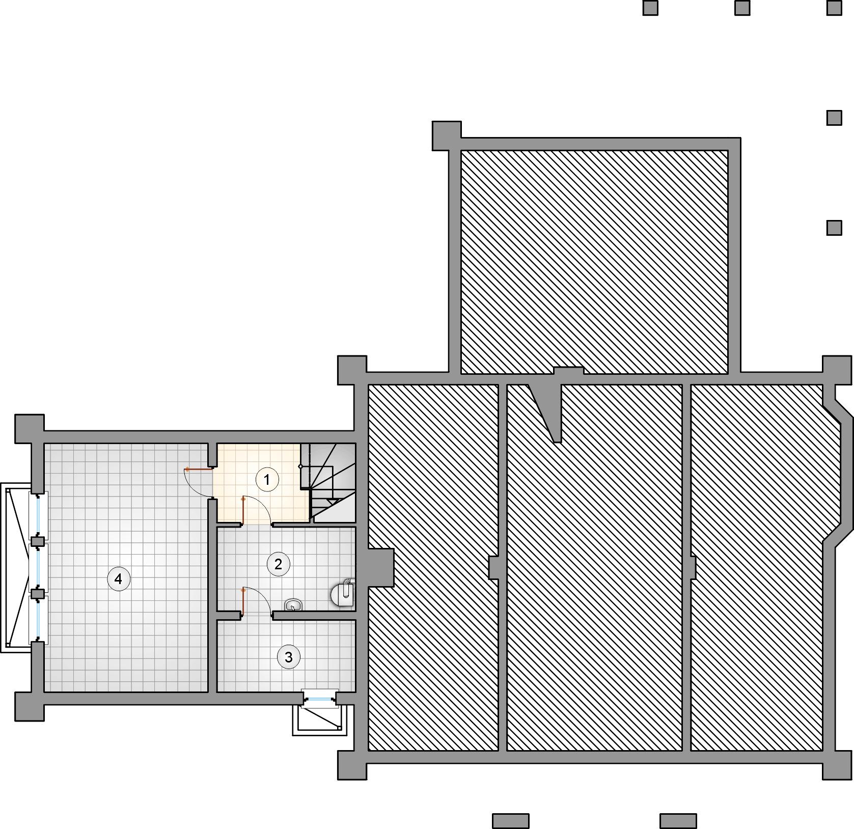 Rzut piwnicy - projekt Karmazyn