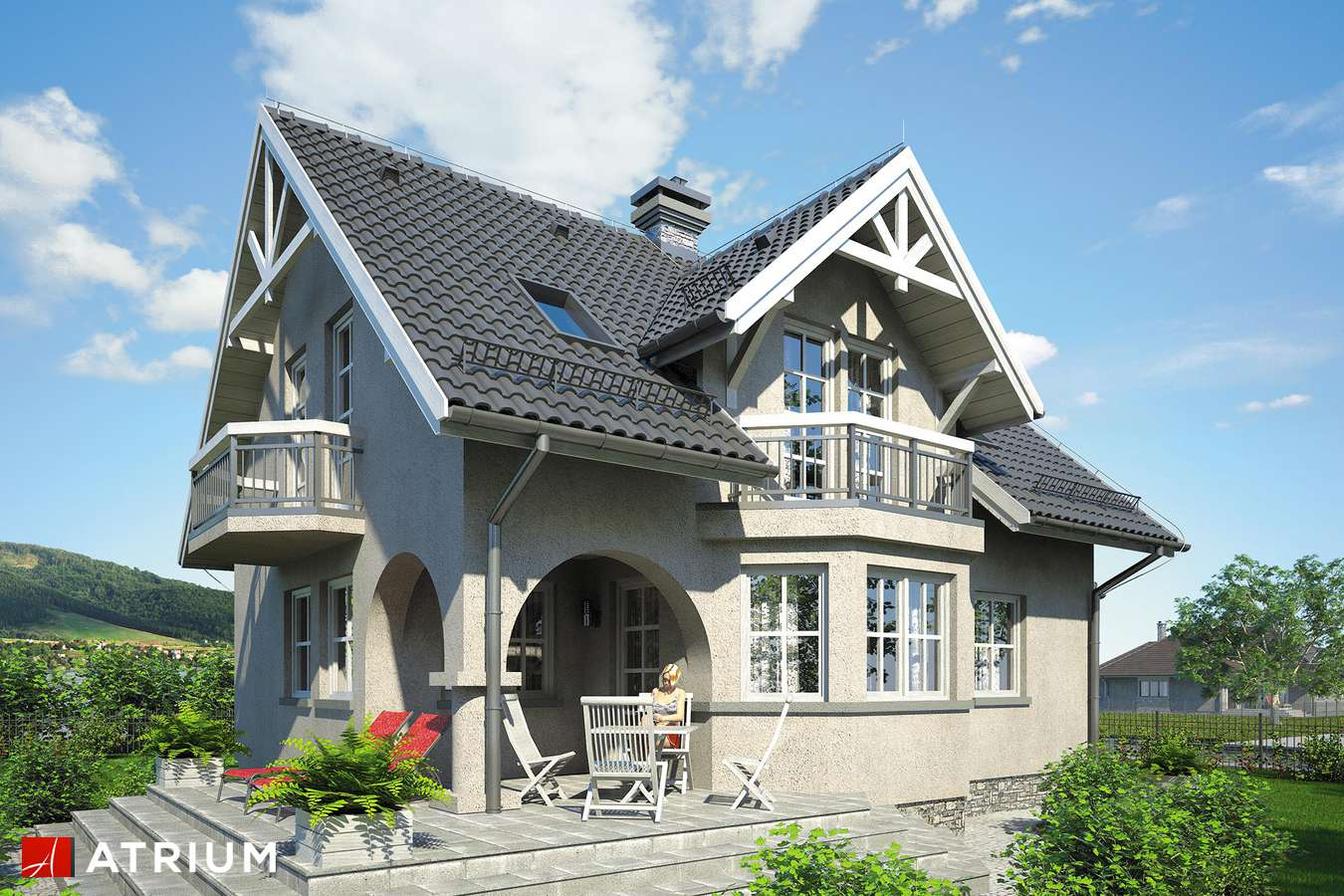 Projekty domów - Projekt domu z poddaszem KORALIK - wizualizacja 2