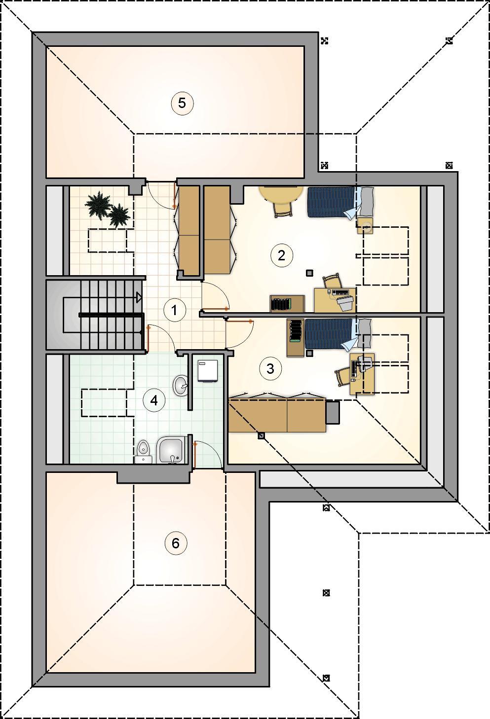 Rzut poddasza - projekt Dębowiec
