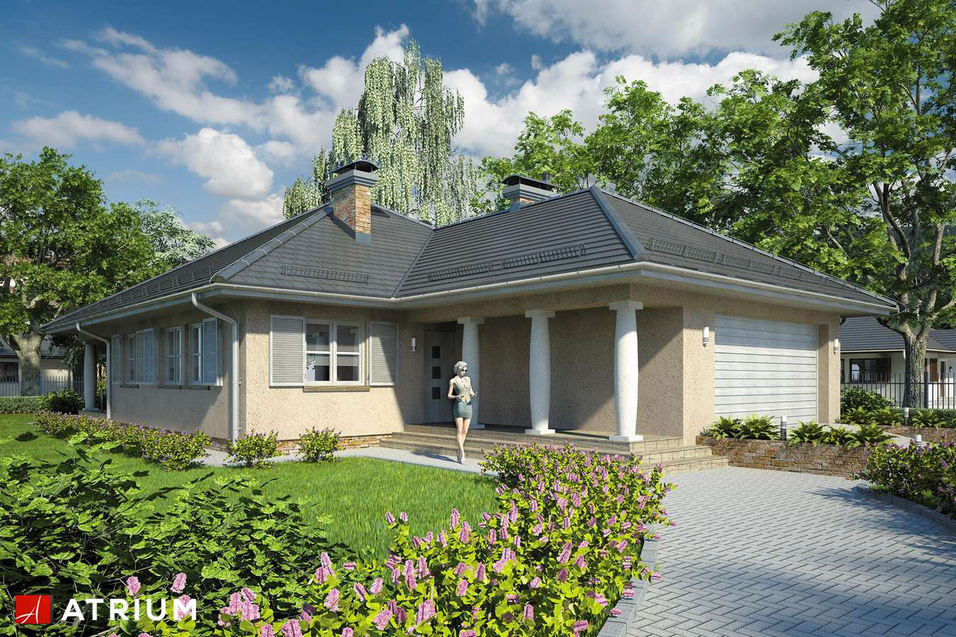 Projekty domów - Projekt domu parterowego MONTANA - wizualizacja 1