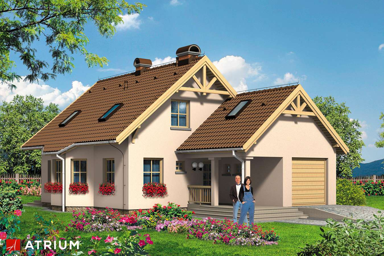 Projekty domów - Projekt domu z poddaszem MAKSIU PLUS - wizualizacja 1