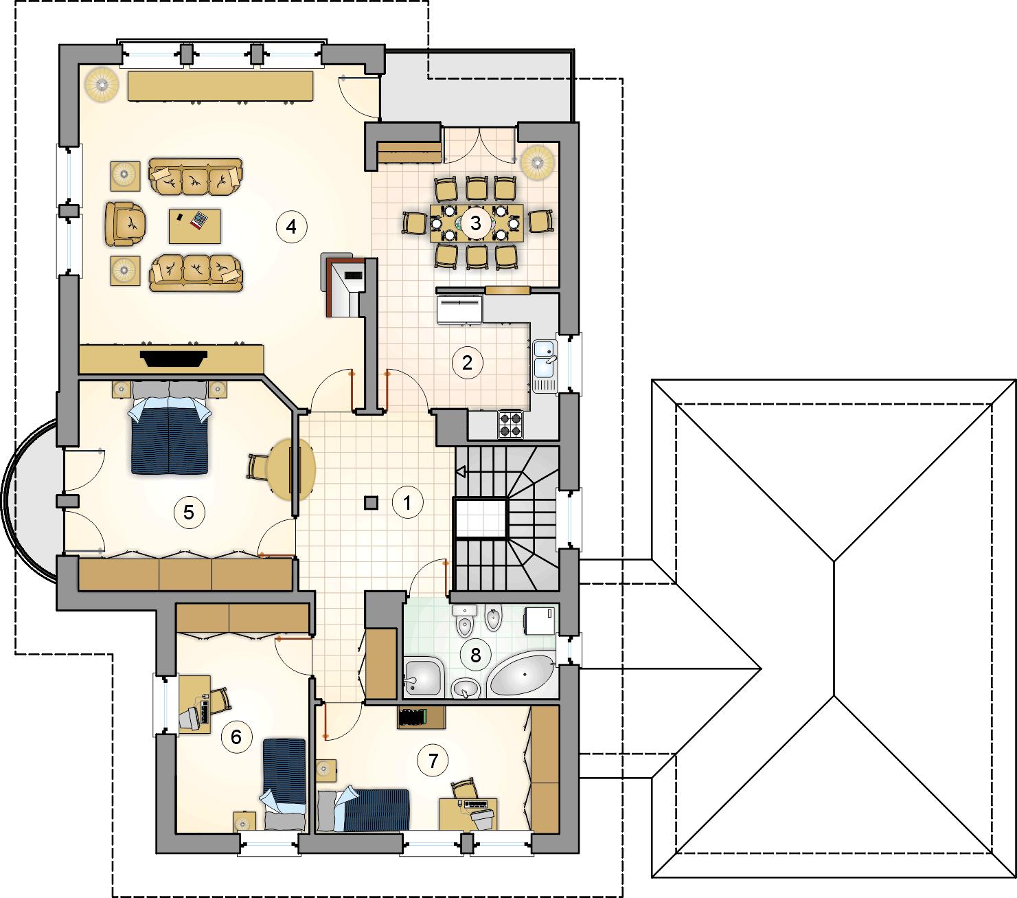 Rzut piętra - projekt Villa Medica
