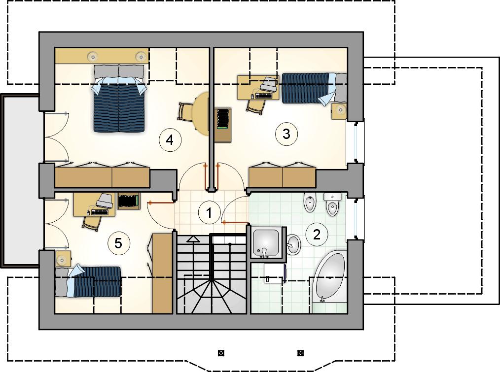Rzut poddasza - projekt Ada Plus - wersja lustrzana