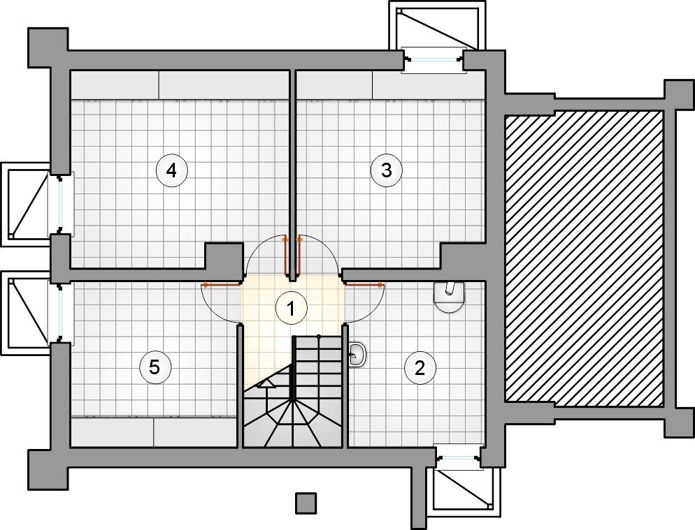 Rzut piwnicy - projekt Ada Plus - wersja lustrzana