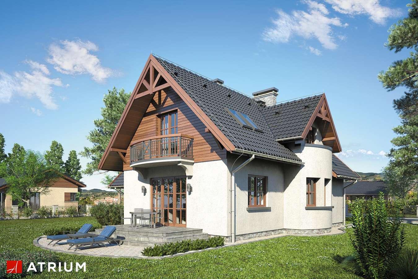 Projekty domów - Projekt domu z poddaszem MUCHOMOREK - wizualizacja 2 - wersja lustrzana