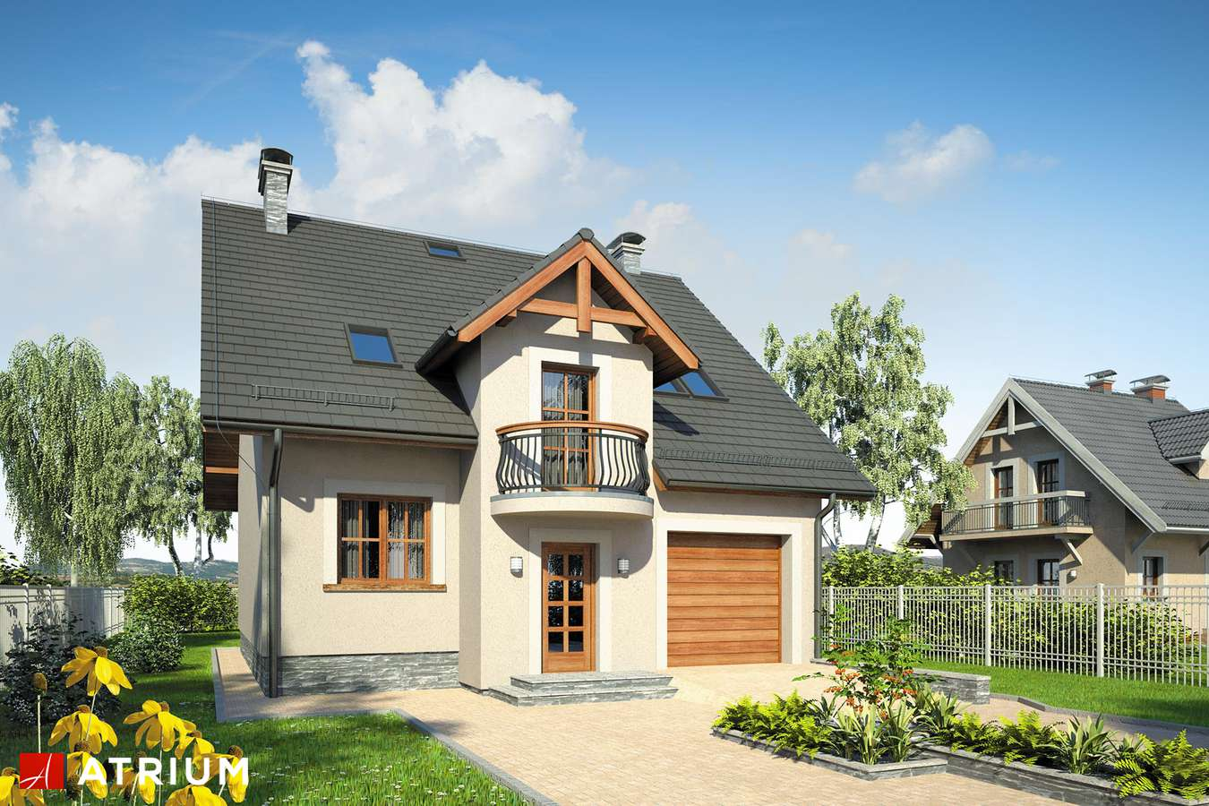 Projekty domów - Projekt domu z poddaszem KANON II - wizualizacja 1
