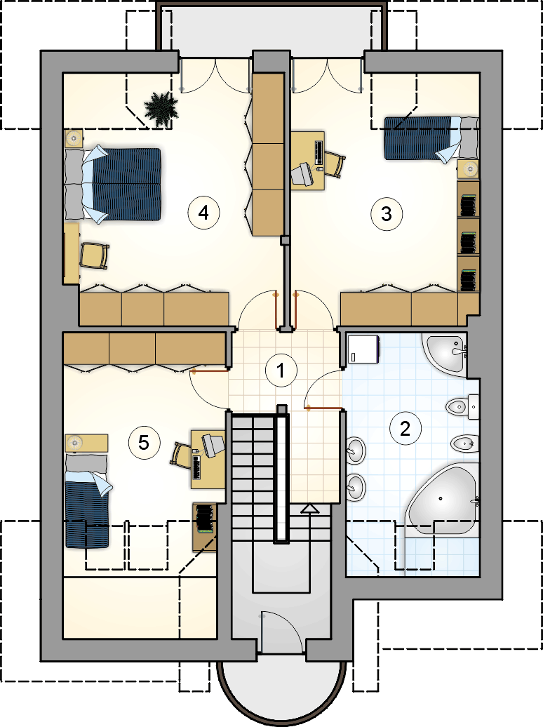 Rzut poddasza - projekt Kanon II - wersja lustrzana