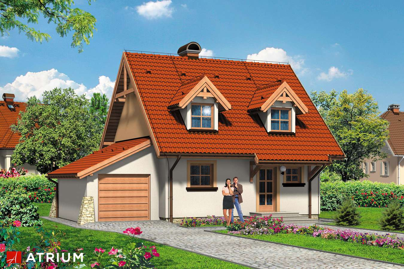 Projekty domów - Projekt domu z poddaszem LUTEK - wizualizacja 1