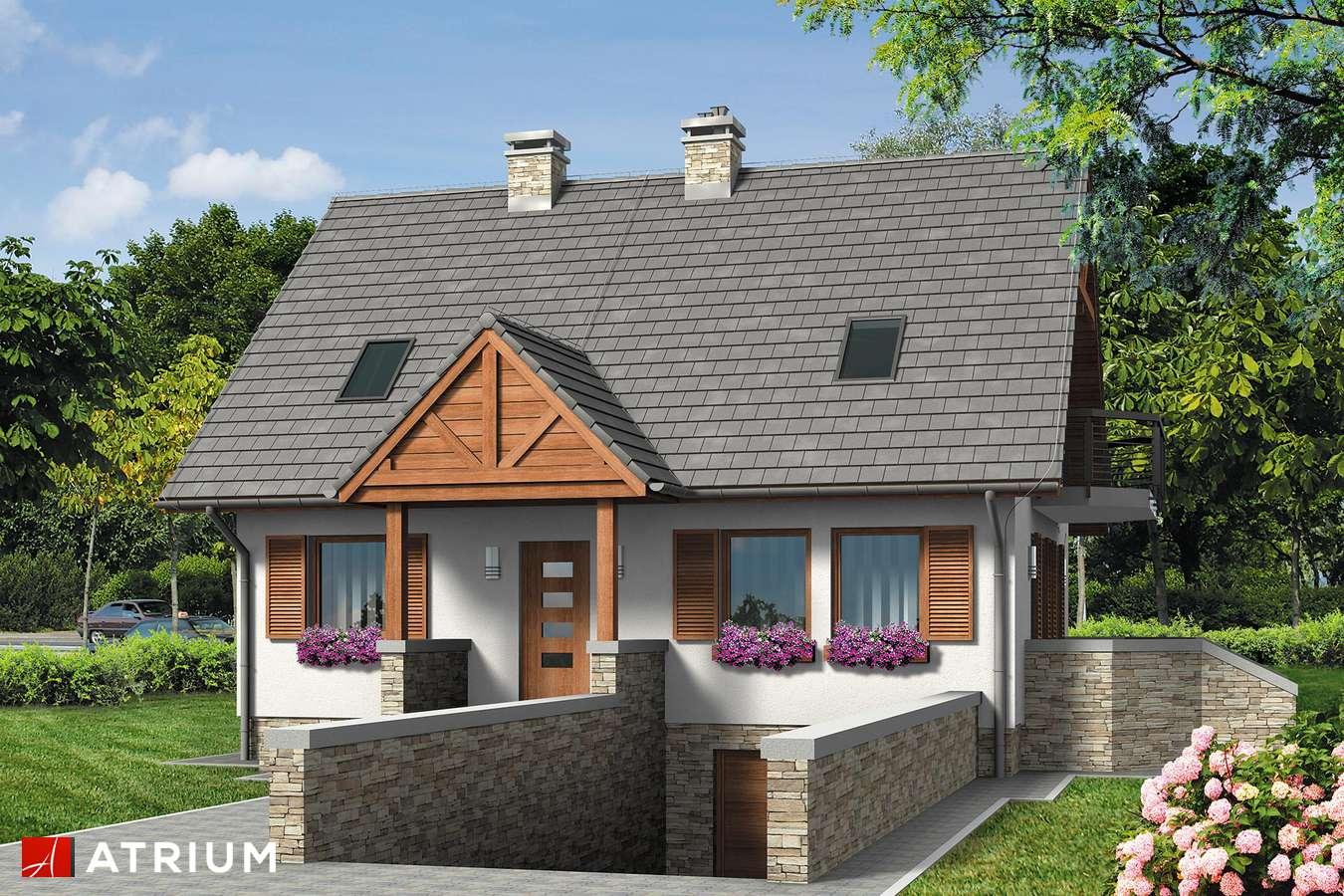 Projekty domów - Projekt domu z poddaszem RUMIANKOWA CHATA BIS - wizualizacja 1