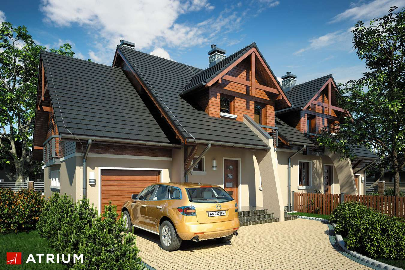 Projekt domu z poddaszem ZGRANY DUET - wizualizacja 1