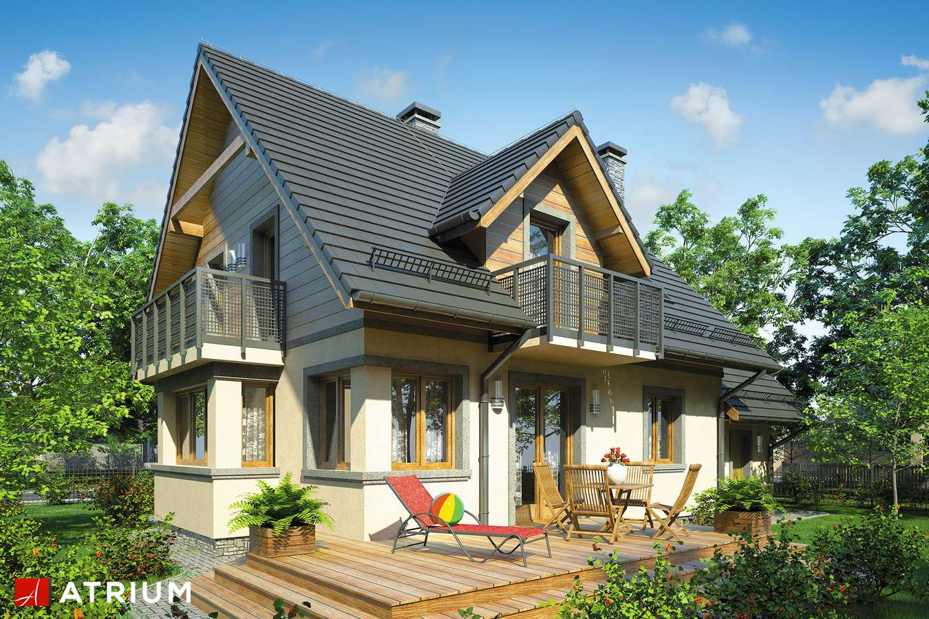 Projekty domów - Projekt domu z poddaszem EWA BIS - wizualizacja 1