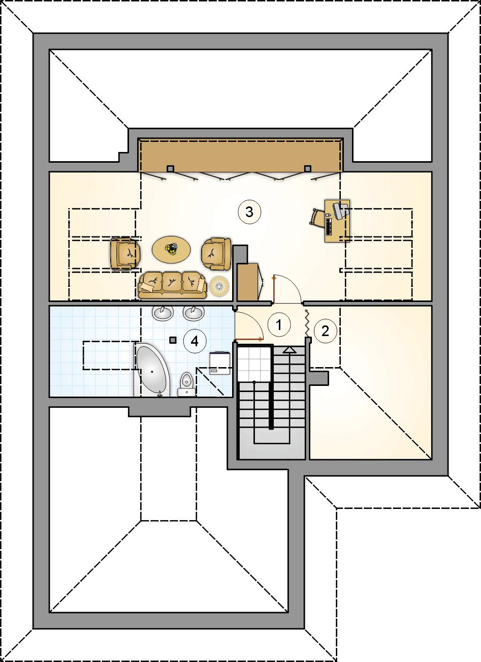 Rzut poddasza - projekt Modelowy - wersja lustrzana