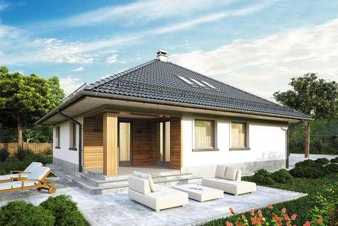 Projekt domu z poddaszem MODELOWY - wizualizacja 2