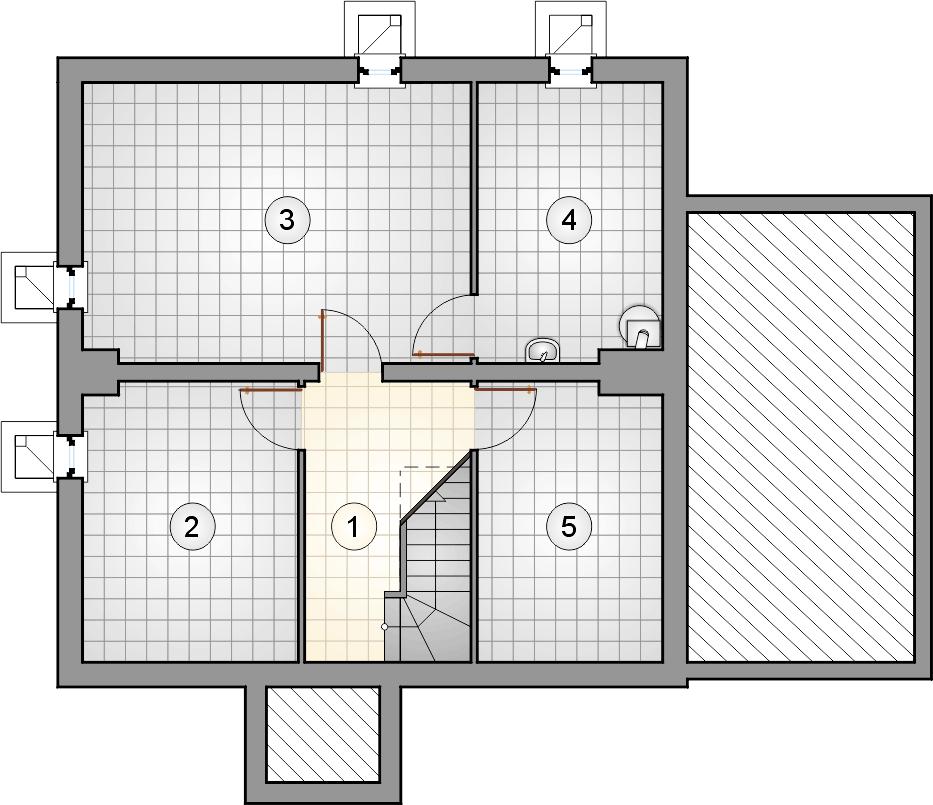 rzut piwnic - projekt Mikołaj - wersja lustrzana