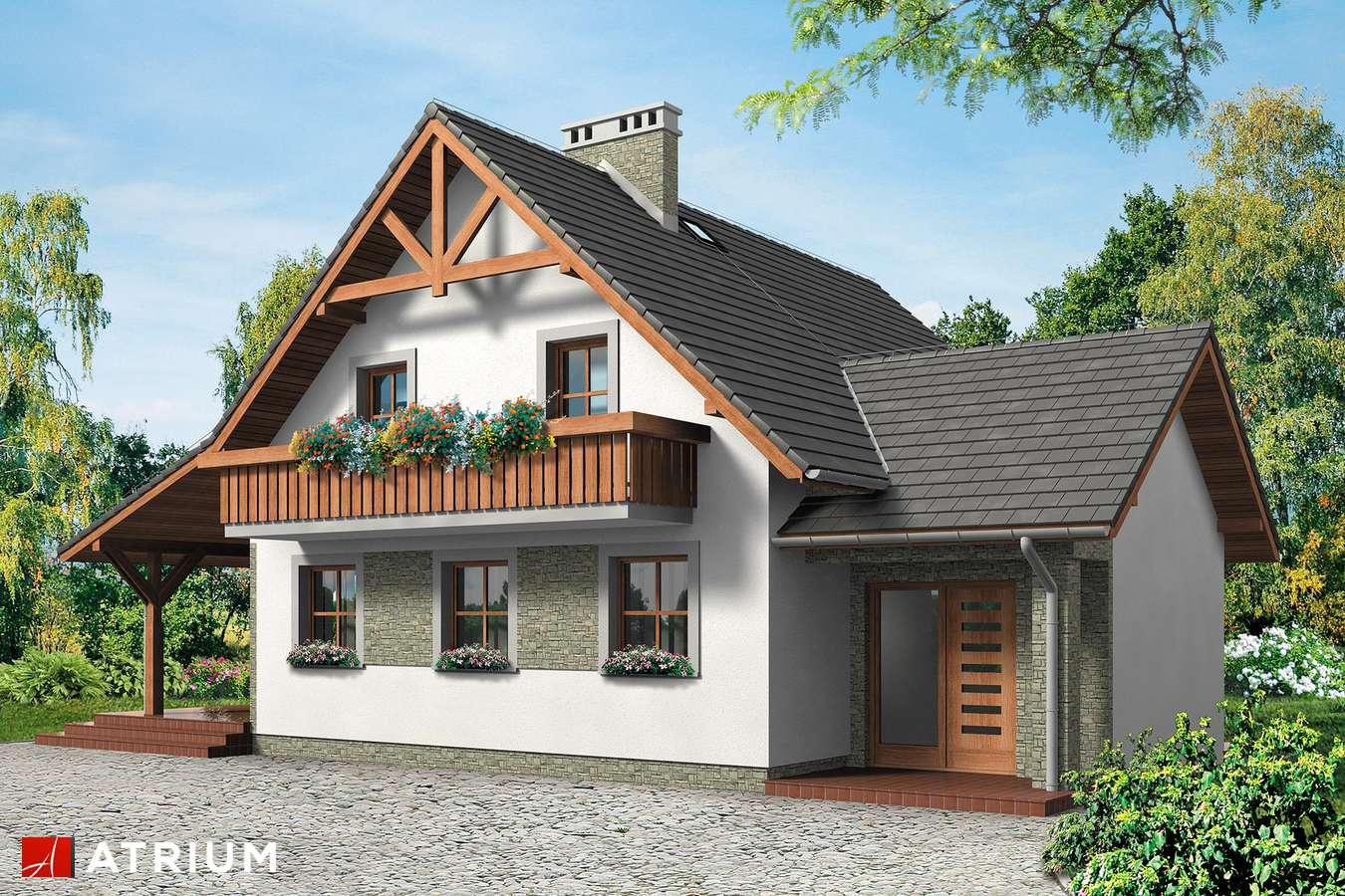 Projekty domów - Projekt domu z poddaszem KRUCZEK - wizualizacja 1 - wersja lustrzana