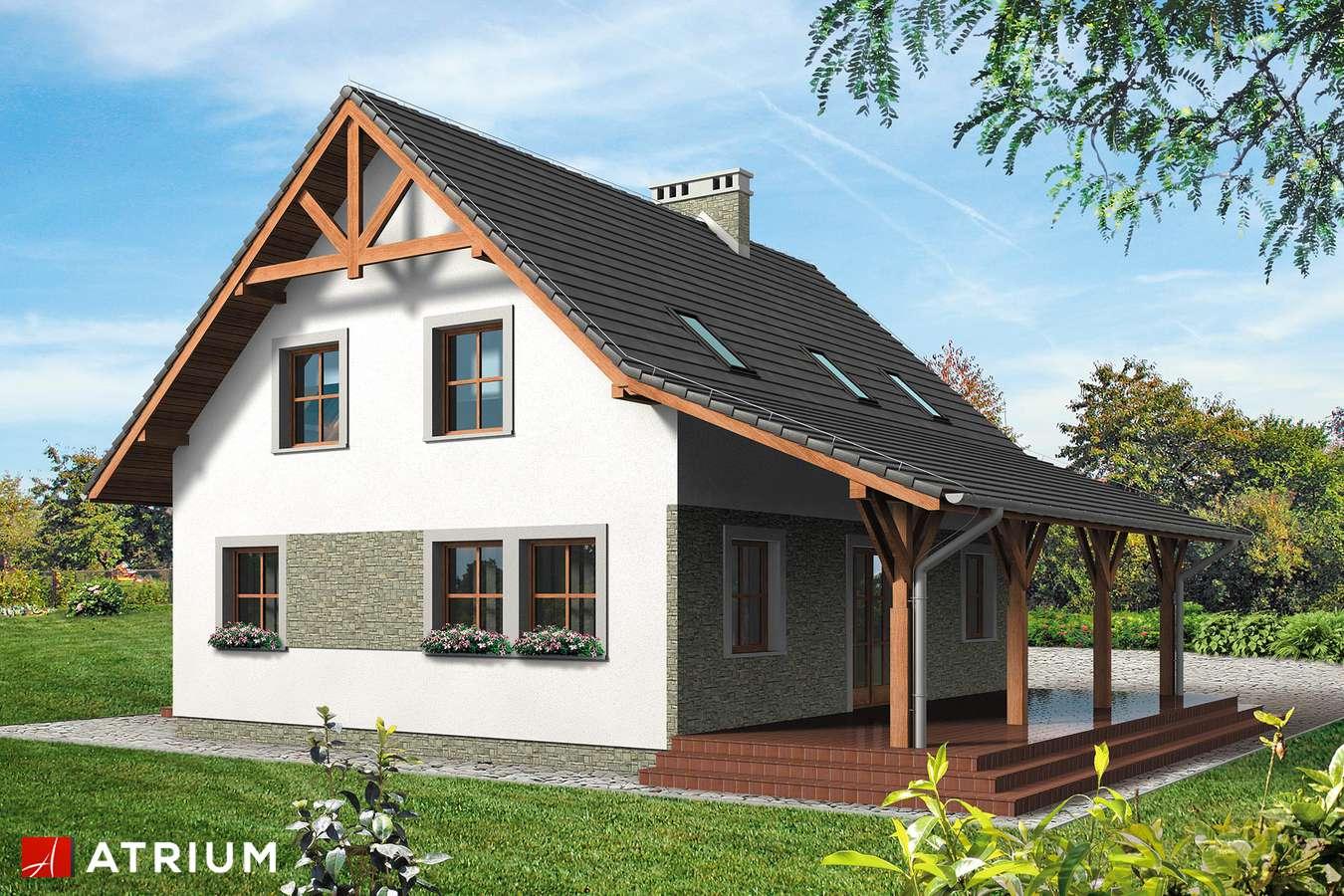 Projekty domów - Projekt domu z poddaszem KRUCZEK - wizualizacja 2 - wersja lustrzana