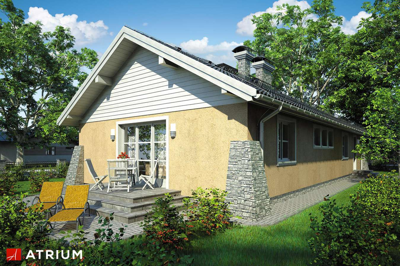 Projekty domów - Projekt domu parterowego BRZASK - wizualizacja 2