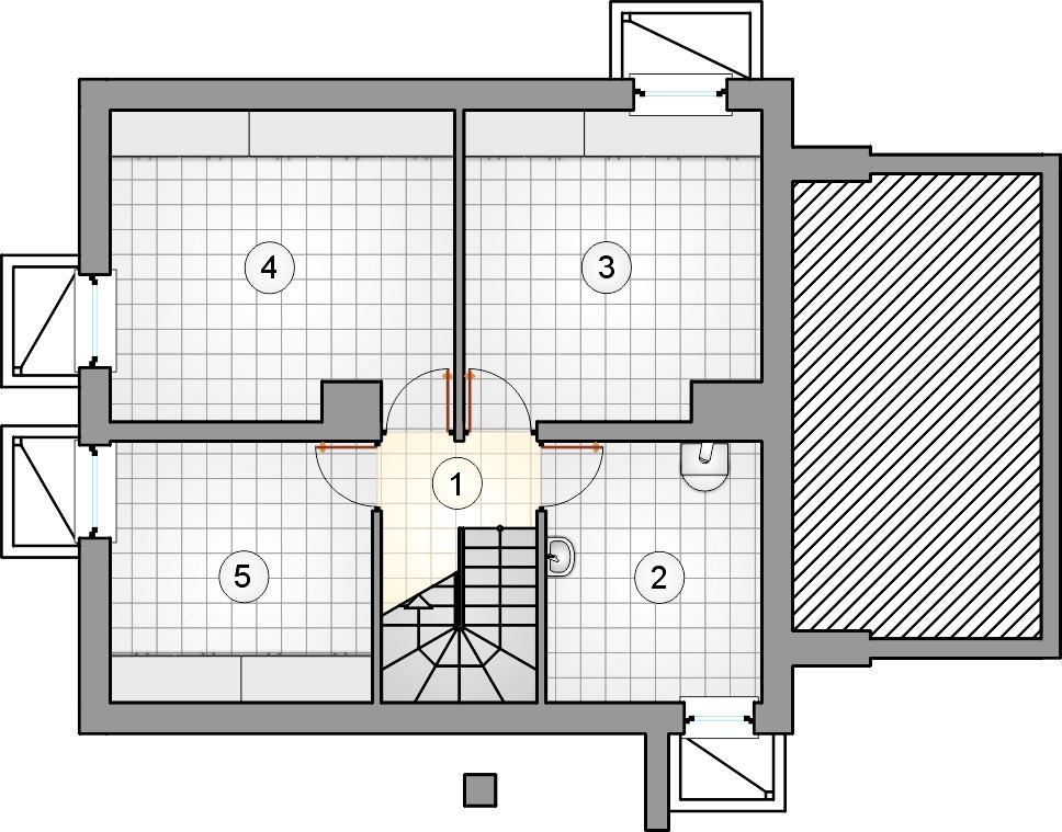 Rzut piwnicy - projekt Ada Plus Bis - wersja lustrzana
