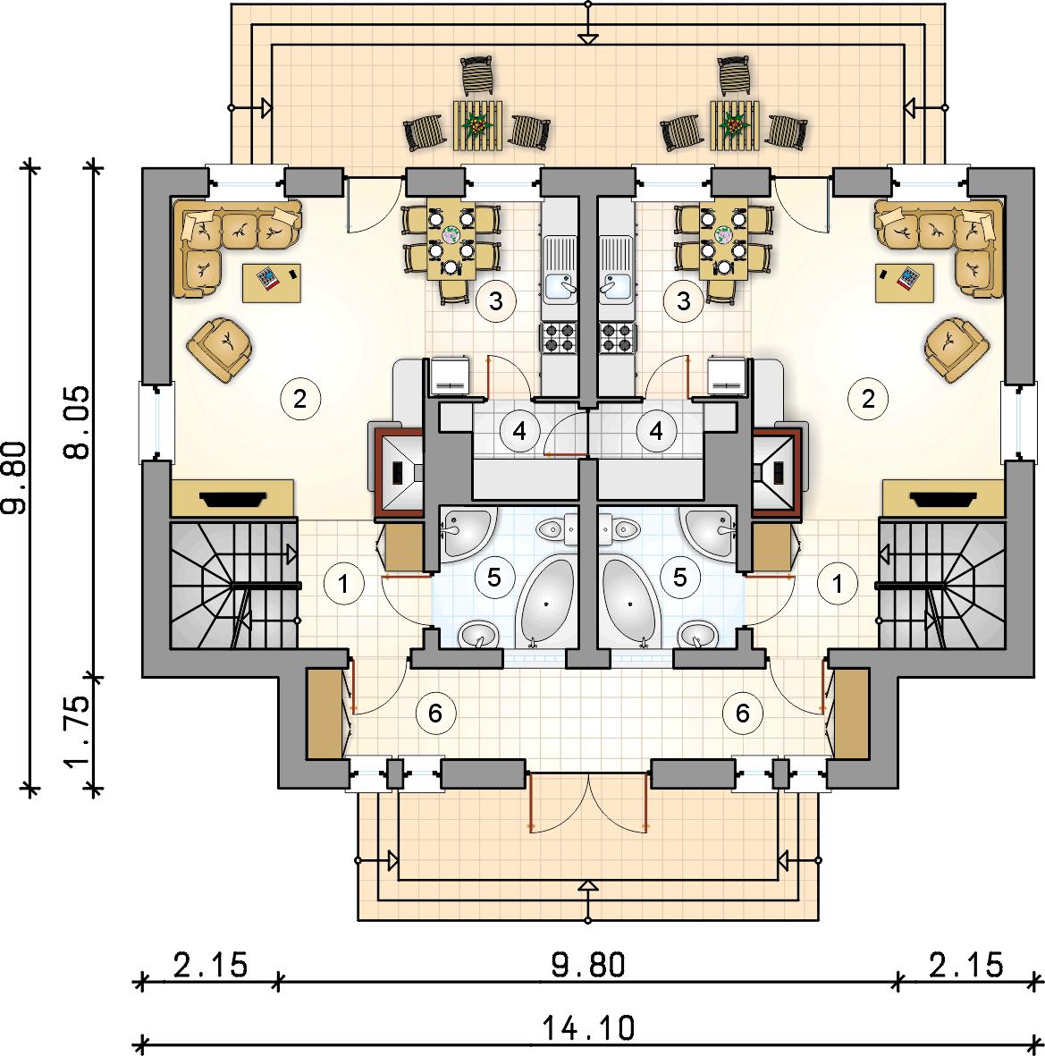 Rzut parteru - projekt Dwojaczek II