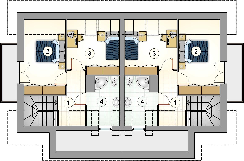 Rzut poddasza - projekt Dwojaczek II