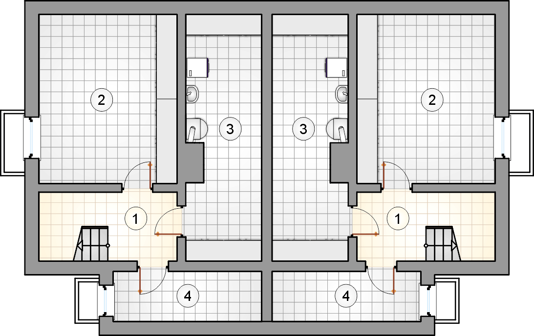 Rzut piwnicy - projekt Dwojaczek II