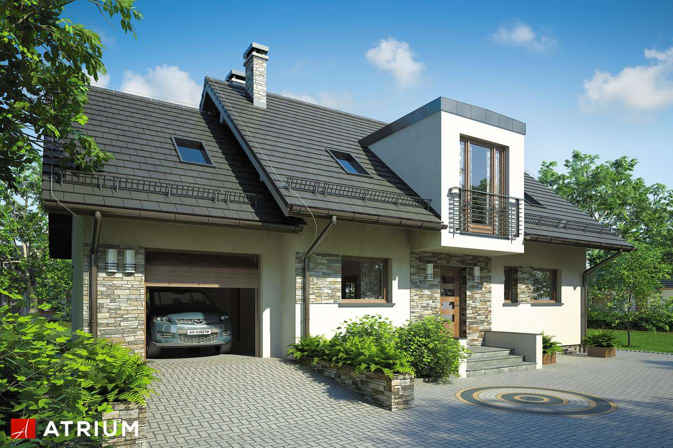 Projekty domów - Projekt domu z poddaszem ASTON - wizualizacja 1