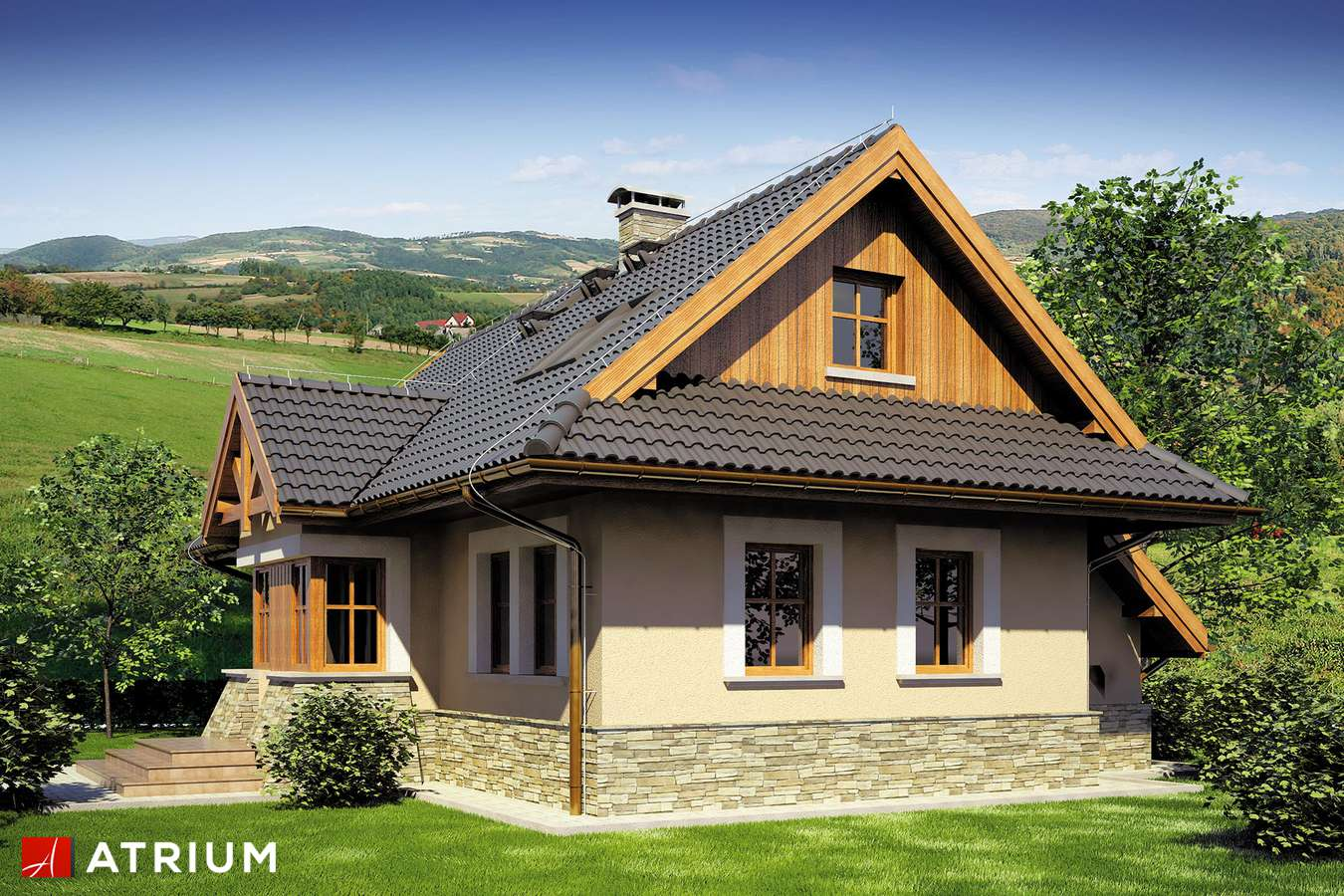 Projekty domów - Projekt domu z poddaszem MAGURA - wizualizacja 2